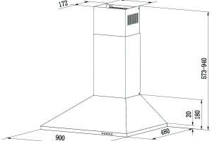 medidas de la campana extractora ciarra cbcs9201
